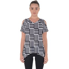 Black And White Basket Weave Cut Out Side Drop Tee