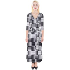 Black And White Basket Weave Quarter Sleeve Wrap Maxi Dress