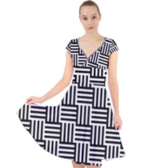 Black And White Basket Weave Cap Sleeve Front Wrap Midi Dress