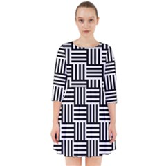 Black And White Basket Weave Smock Dress by retrotoomoderndesigns