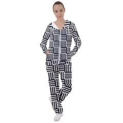 Black And White Basket Weave Women s Tracksuit