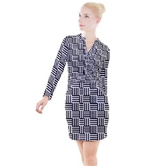 Black And White Basket Weave Button Long Sleeve Dress