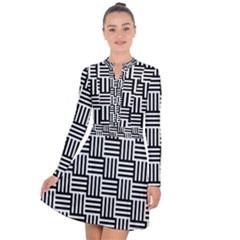 Black And White Basket Weave Long Sleeve Panel Dress
