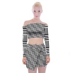 Black And White Basket Weave Off Shoulder Top with Mini Skirt Set