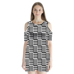 Black And White Basket Weave Shoulder Cutout Velvet One Piece
