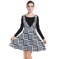 Black And White Basket Weave Plunge Pinafore Dress