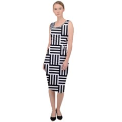 Black And White Basket Weave Sleeveless Pencil Dress