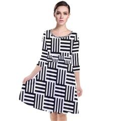 Black And White Basket Weave Quarter Sleeve Waist Band Dress