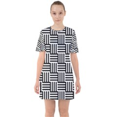 Black And White Basket Weave Sixties Short Sleeve Mini Dress