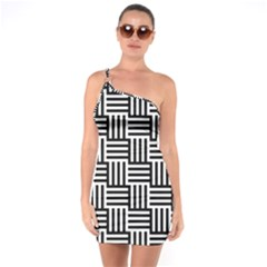 Black And White Basket Weave One Soulder Bodycon Dress