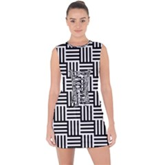 Black And White Basket Weave Lace Up Front Bodycon Dress