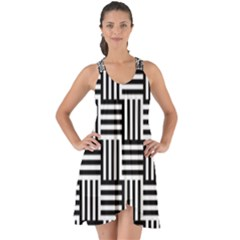 Black And White Basket Weave Show Some Back Chiffon Dress