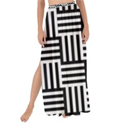 Black And White Basket Weave Maxi Chiffon Tie-Up Sarong