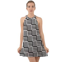 Black And White Basket Weave Halter Tie Back Chiffon Dress