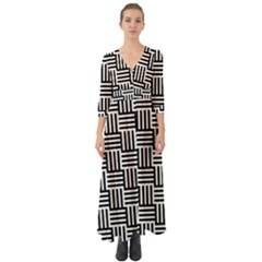 Black And White Basket Weave Button Up Boho Maxi Dress