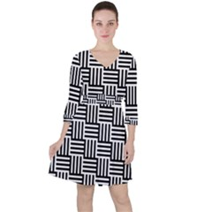 Black And White Basket Weave Ruffle Dress