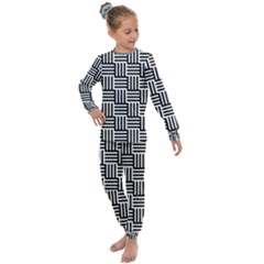 Black And White Basket Weave Kids  Long Sleeve Set