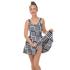 Black And White Basket Weave Inside Out Casual Dress