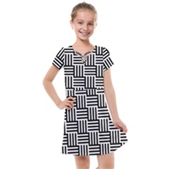 Black And White Basket Weave Kids  Cross Web Dress