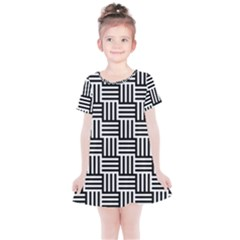 Black And White Basket Weave Kids  Simple Cotton Dress