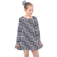 Black And White Basket Weave Kids  Long Sleeve Dress