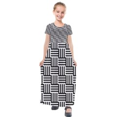 Black And White Basket Weave Kids  Short Sleeve Maxi Dress