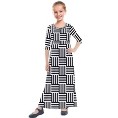 Black And White Basket Weave Kids  Quarter Sleeve Maxi Dress