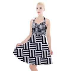 Black And White Basket Weave Halter Party Swing Dress