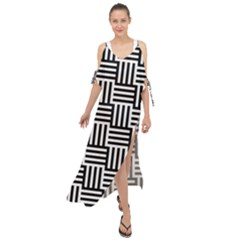 Black And White Basket Weave Maxi Chiffon Cover Up Dress