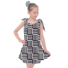 Black And White Basket Weave Kids  Tie Up Tunic Dress