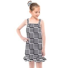 Black And White Basket Weave Kids  Overall Dress