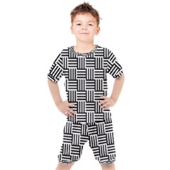 Black And White Basket Weave Kids  Tee and Shorts Set