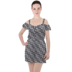 Black And White Basket Weave Ruffle Cut Out Chiffon Playsuit