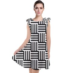 Black And White Basket Weave Tie Up Tunic Dress