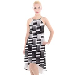Black And White Basket Weave High-Low Halter Chiffon Dress