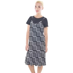 Black And White Basket Weave Camis Fishtail Dress