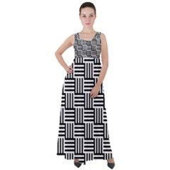 Black And White Basket Weave Empire Waist Velour Maxi Dress