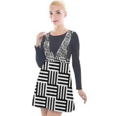 Black And White Basket Weave Plunge Pinafore Velour Dress
