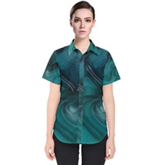 Abstract Graphics Water Web Layout Women s Short Sleeve Shirt