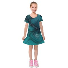 Abstract Graphics Water Web Layout Kids  Short Sleeve Velvet Dress