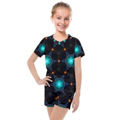 Ornament Pattern Color Background Kids  Mesh Tee And Shorts Set