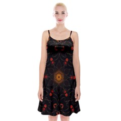 Ornament Background Tender Web Spaghetti Strap Velvet Dress