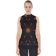 Ornament Background Tender Web Mock Neck Shell Top