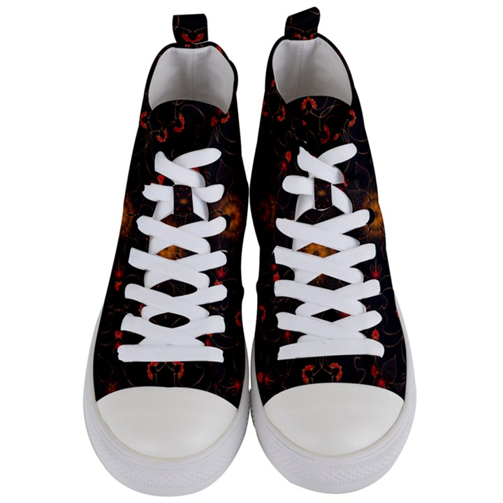Ornament Background Tender Web Women s Mid-Top Canvas Sneakers
