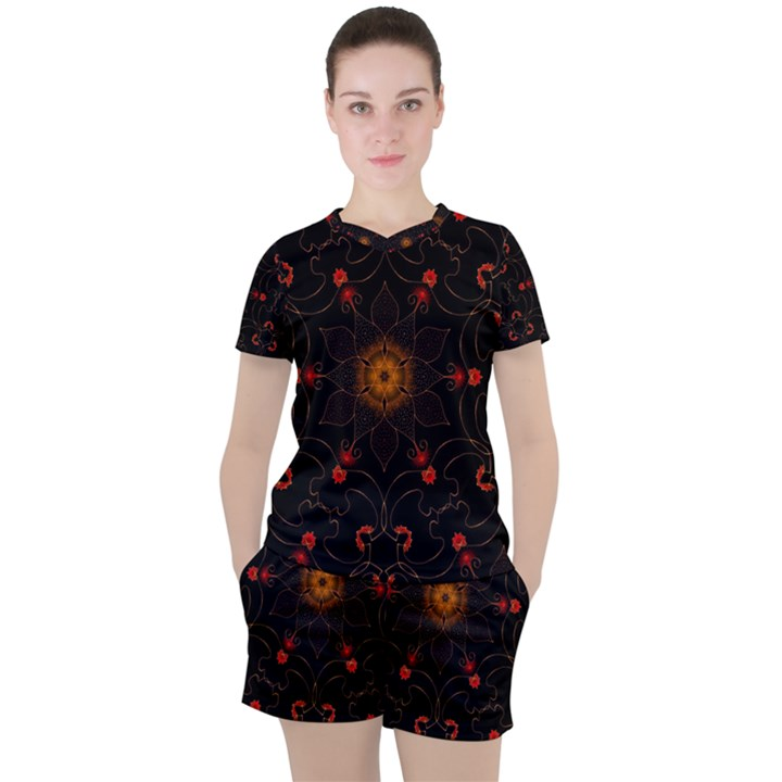 Ornament Background Tender Web Women s Tee and Shorts Set