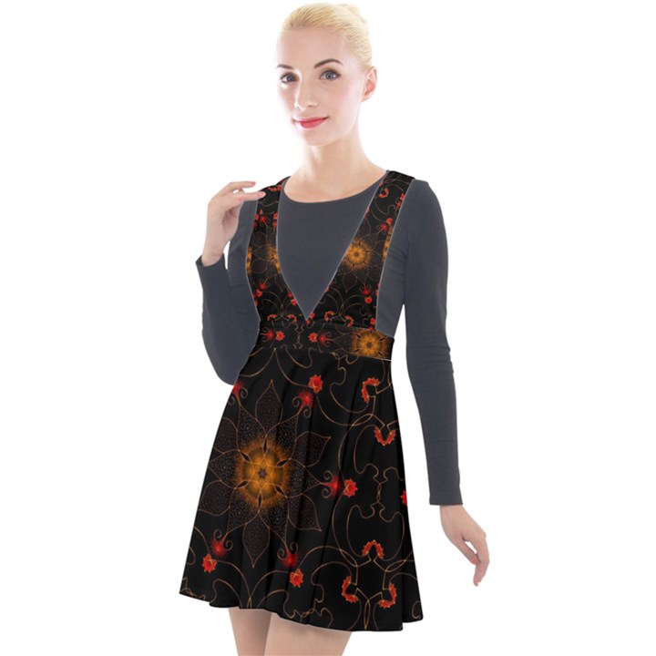 Ornament Background Tender Web Plunge Pinafore Velour Dress