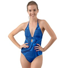 Rendering Streak Wave Background Halter Cut Out One Piece Swimsuit