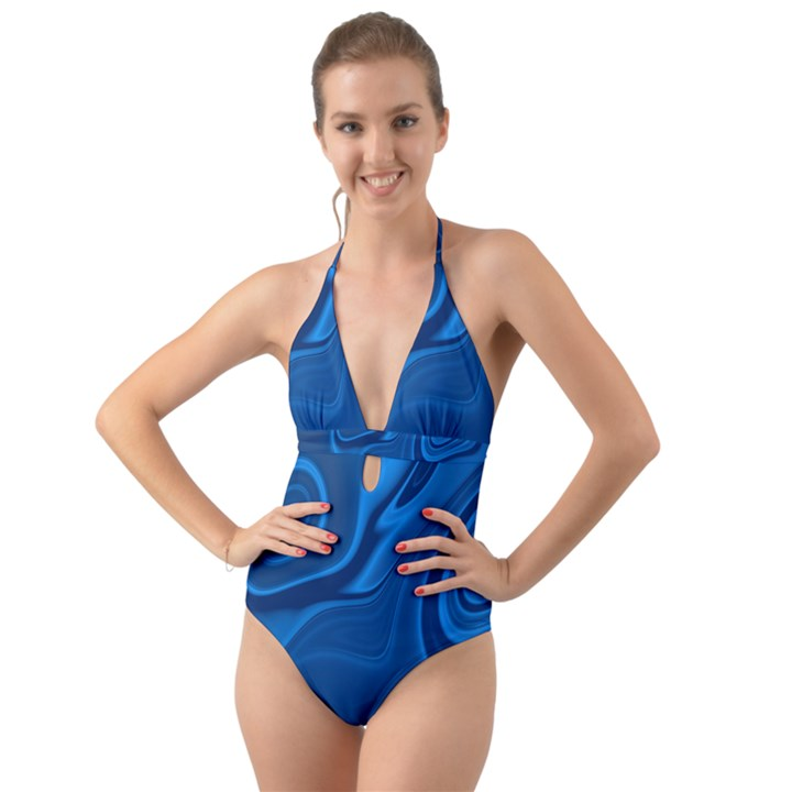 Rendering Streak Wave Background Halter Cut-Out One Piece Swimsuit