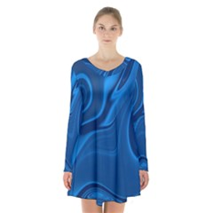Rendering Streak Wave Background Long Sleeve Velvet V Neck Dress
