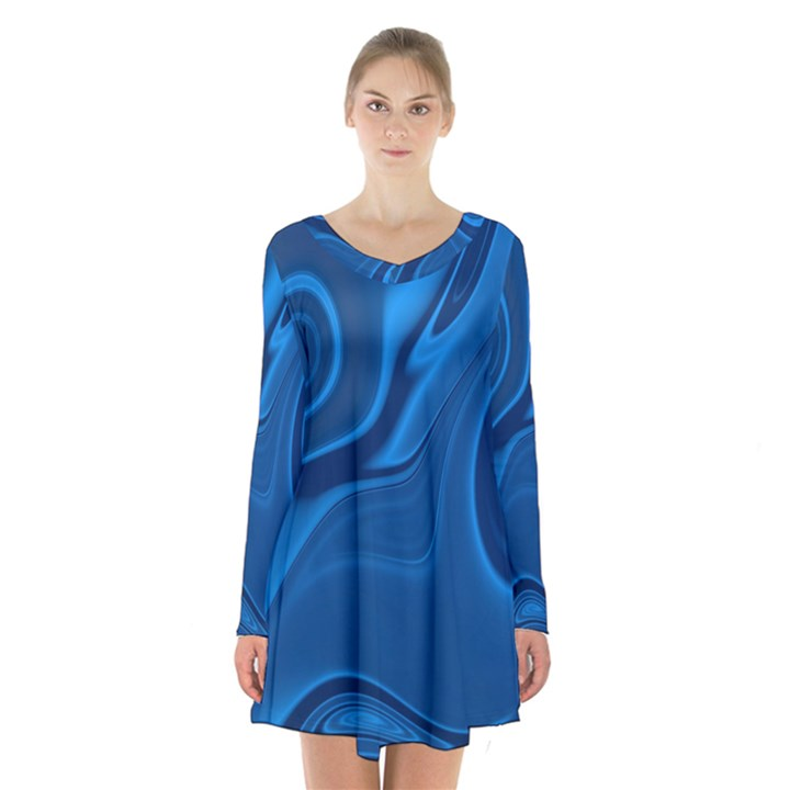 Rendering Streak Wave Background Long Sleeve Velvet V-neck Dress